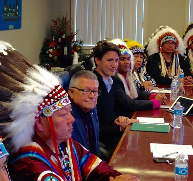 Trudeau greeted by cheers, hugs during visit to Treaty 4 Governance Centre