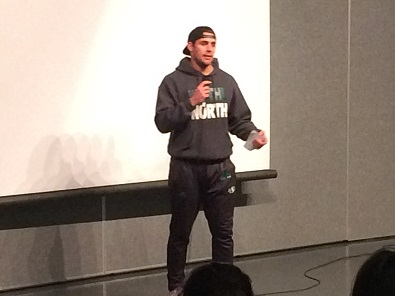 Saskatchewan Roughrider speaks to children in the north