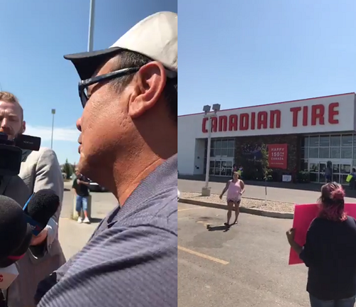 Rally held outside Regina Canadian Tire after video shows confrontation with First Nations man