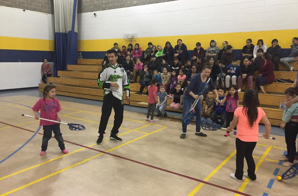 Saskatchewan Rush players go to La Loche to teach students about lacrosse