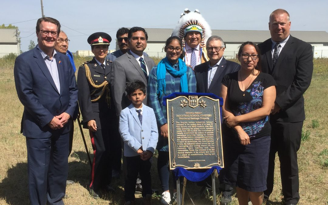 Former Regina Residential School gravesite, now has cemetery plaque to honour the buried children