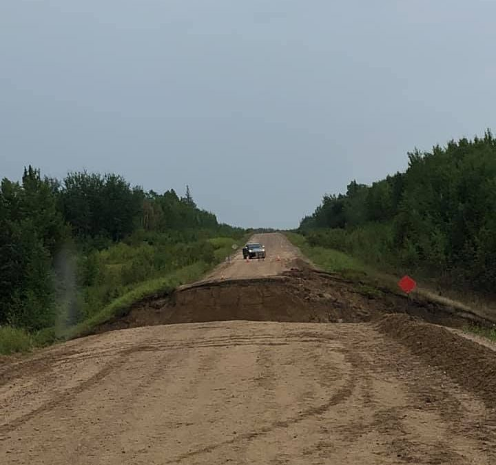Heavy rain has closed Highway 903 at Cole Bay due to washout