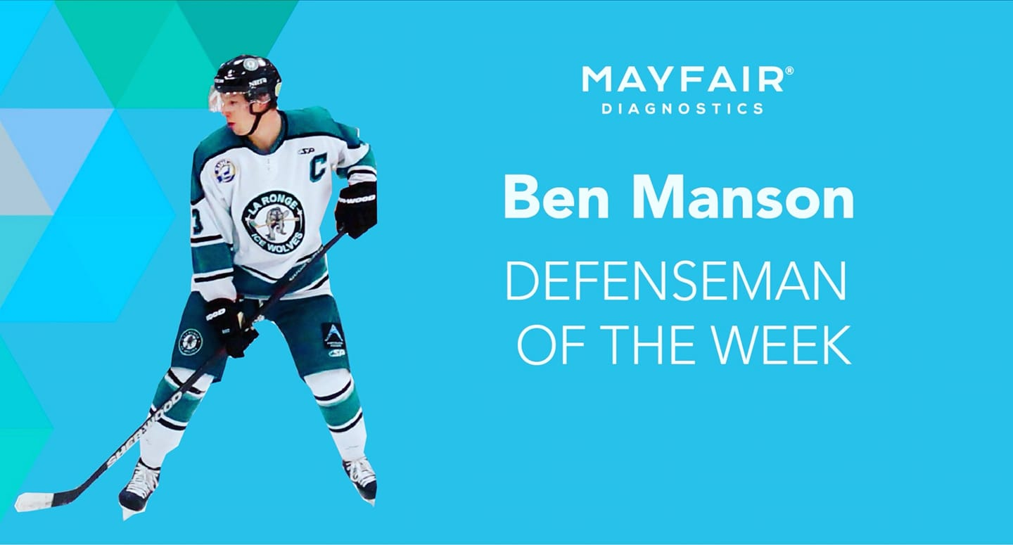 Manson named SJHL Defenceman of the Week